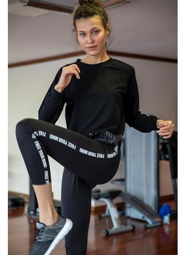 DeFacto Baskılı Kısa Sporcu Sweatshirt Siyah